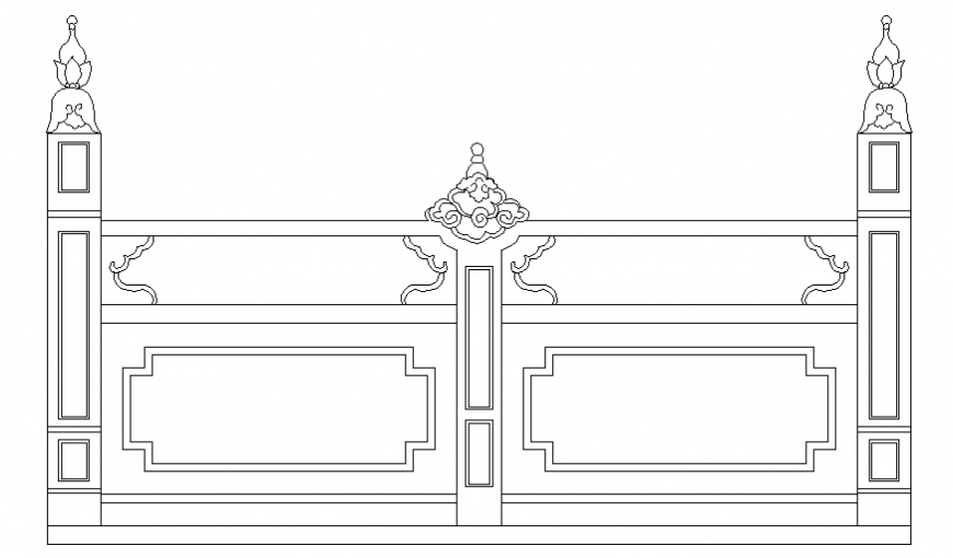 Traditional type railing front elevation cad block details dwg file