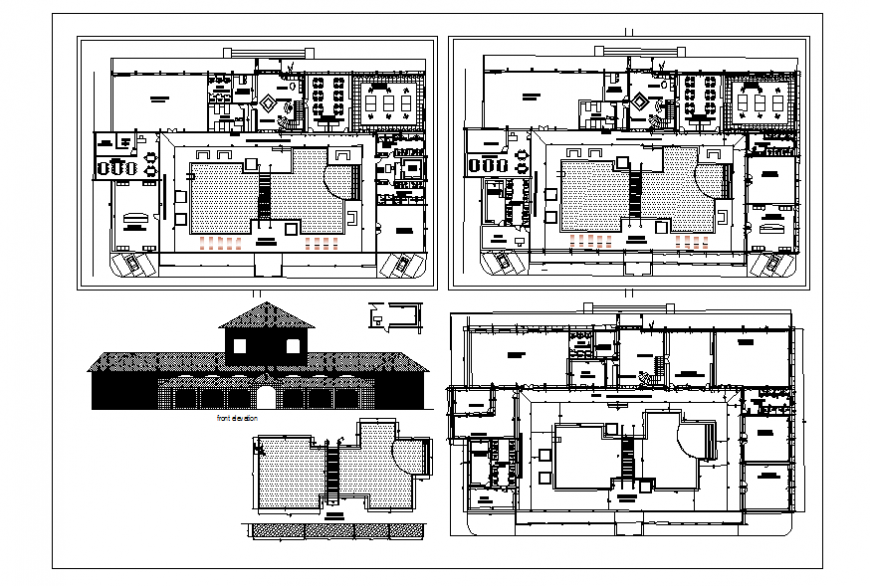 Traditional type restaurant elevation, section and floor plan details dwg file