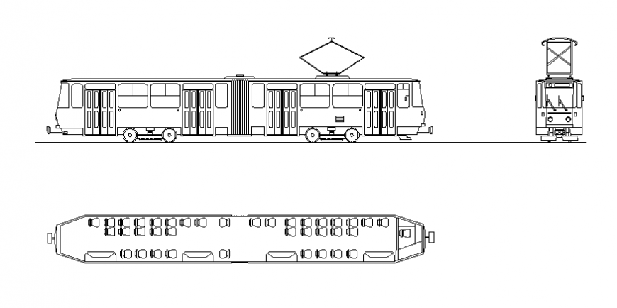 Train front, side and top view elevation cad drawing details dwg file