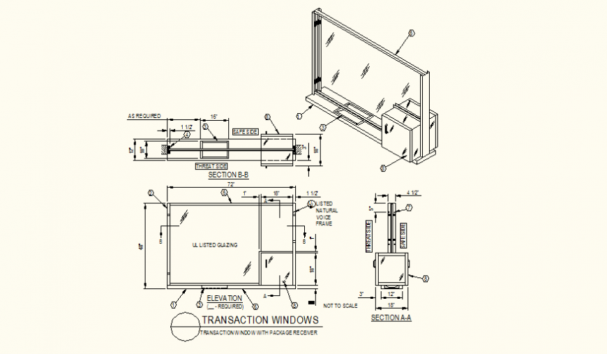 Transaction window with package receiver elevation, plan and section detail autocad file