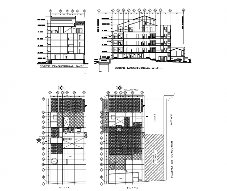 Transverse, longitudinal and all sided section and auto-cad drawing details of hotel building dwg file