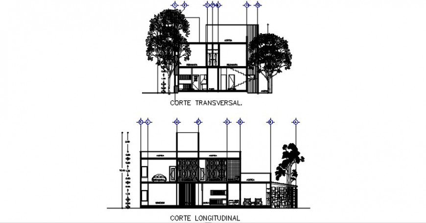 Transverse and logitude section drawing details of one family house dwg file