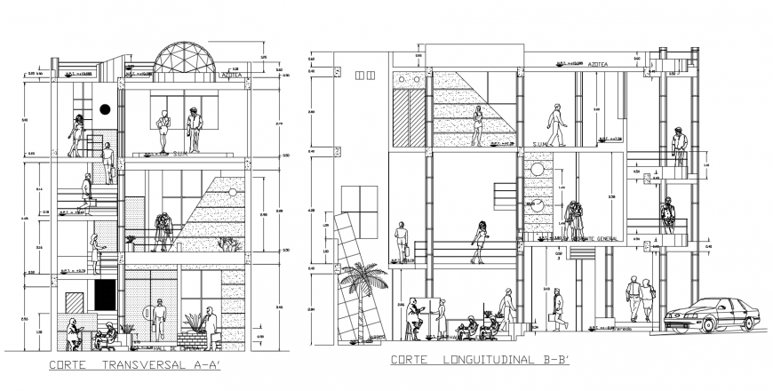 Transverse and longitudinal sectional drawing details of apartment flats dwg file