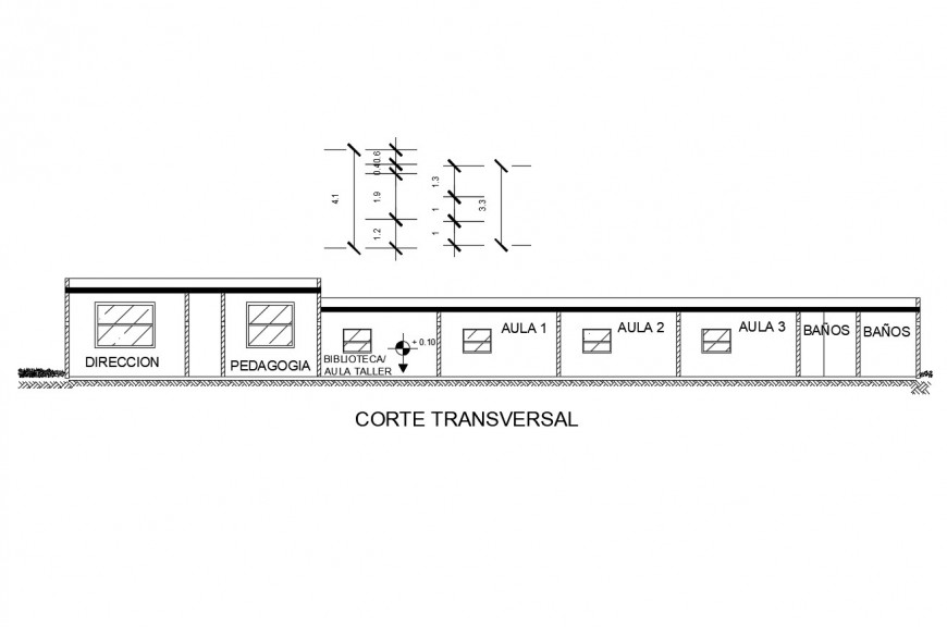 Transverse sectional drawing details of kinder garden school dwg file
