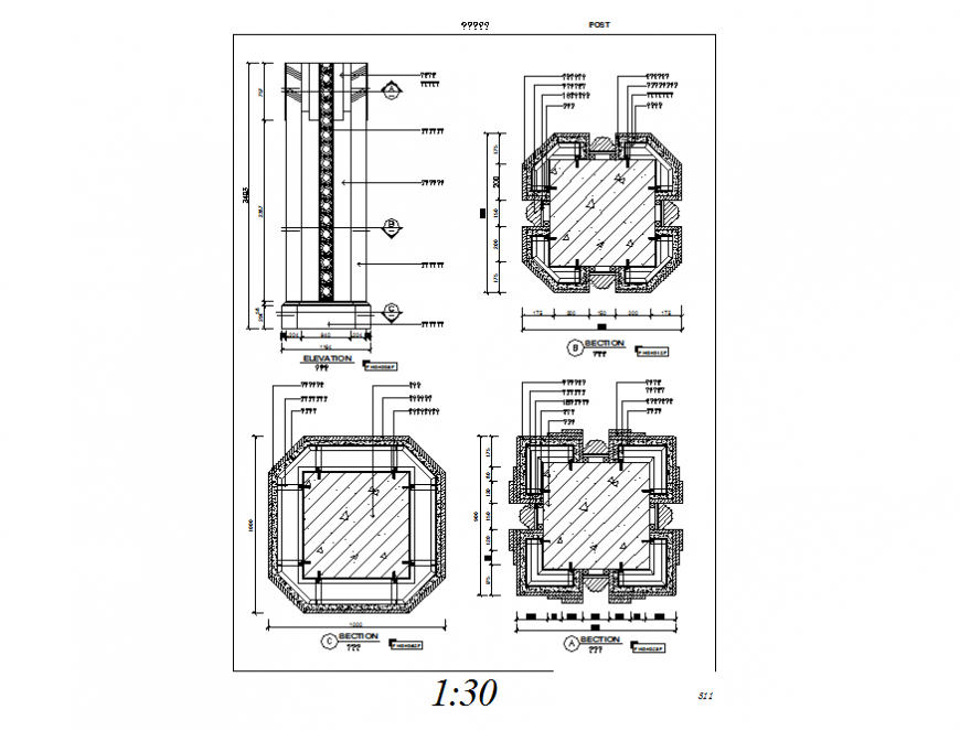 Trash-bin elevation and all sided sectional details dwg file