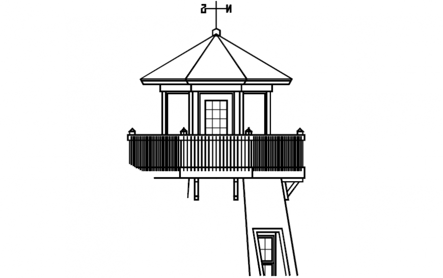 Tree house 2d front elevation dwg file