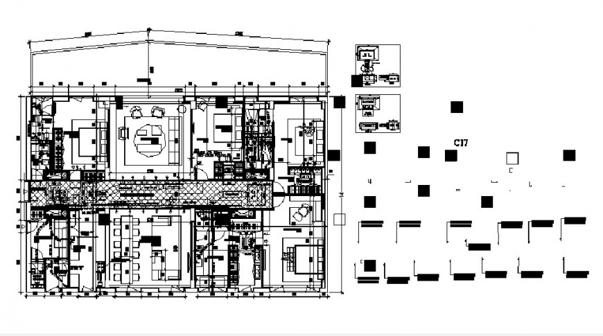 Trevino sample flat distribution plan with furniture drawing details dwg file