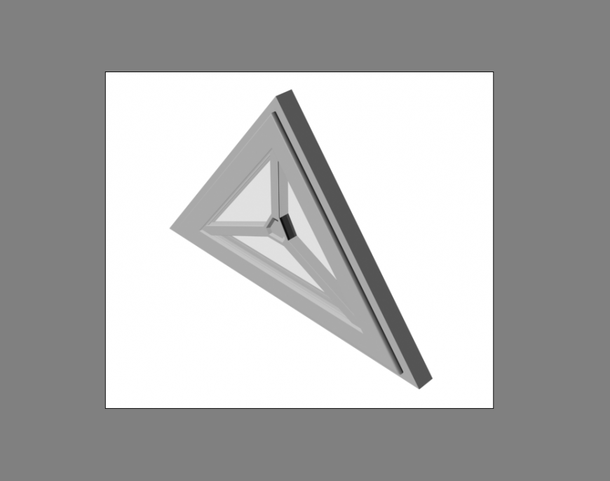 Triangle single window 3d model cad drawing details dwg file