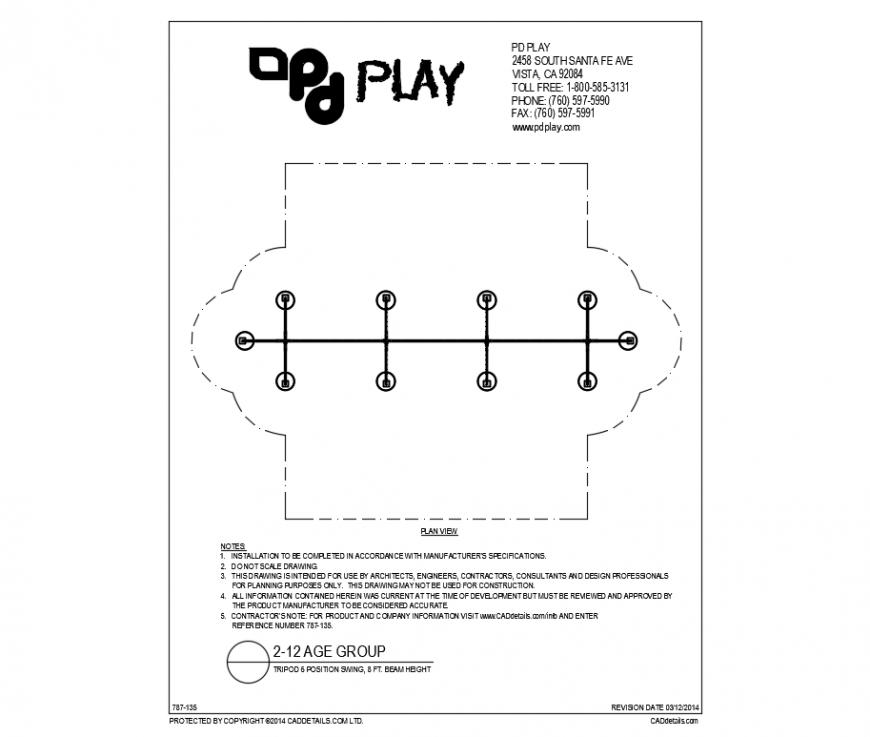 Tripod six position swings equipment details of park dwg file