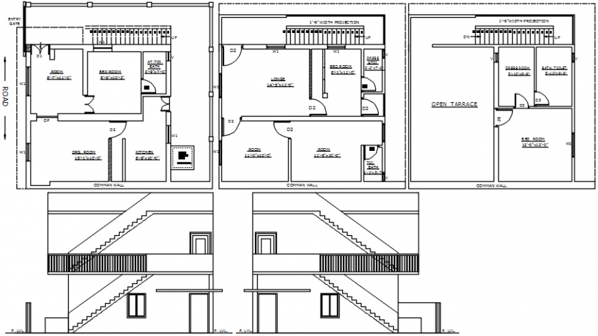 Trivedi house elevation, section and floor plan drawing details dwg file