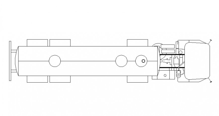 Truck 2d view drawing in AutoCAD software