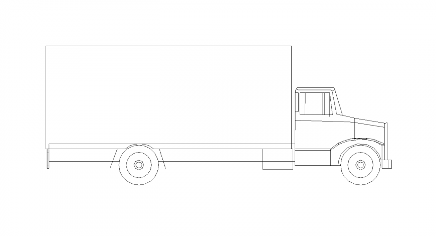 Truck block design with vehicle view dwg file