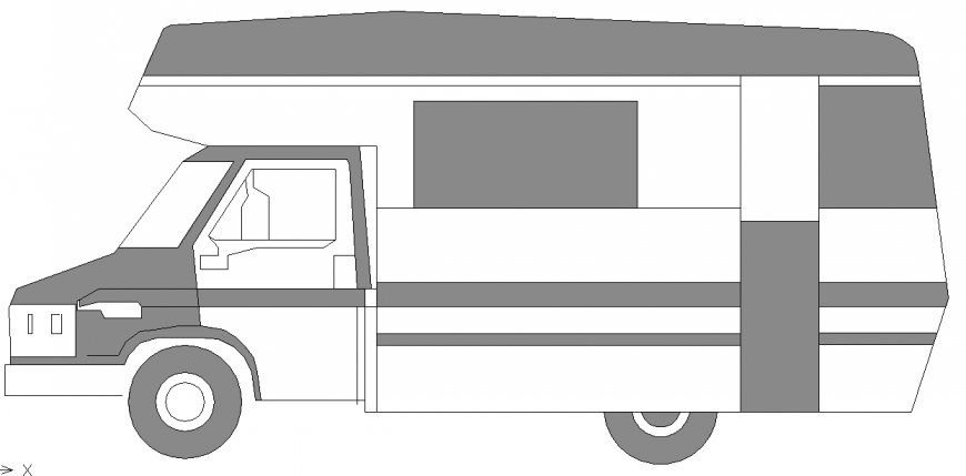 Truck Block Side Elevation View Detail