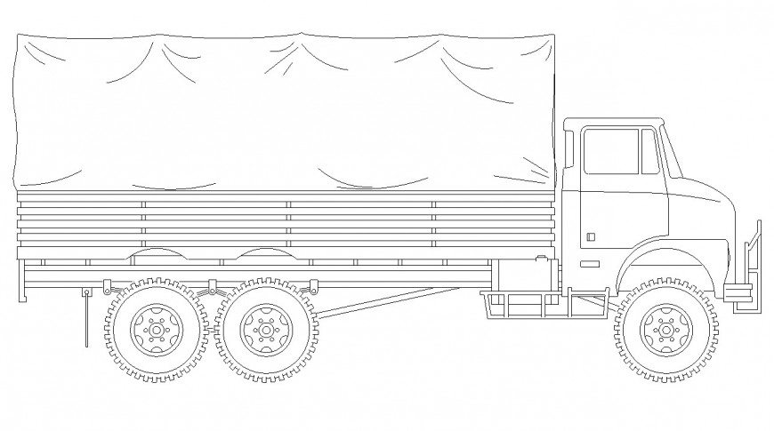 Truck CAD vehicle block layout elevation 2d view autocad file