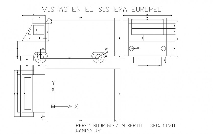 Truck plan and section autocad file
