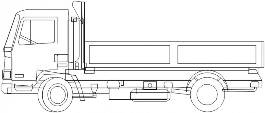 Truck side elevation 2d block cad drawing details dwg file