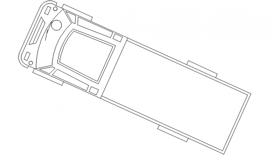 Truck top cross view elevation block drawing details dwg file