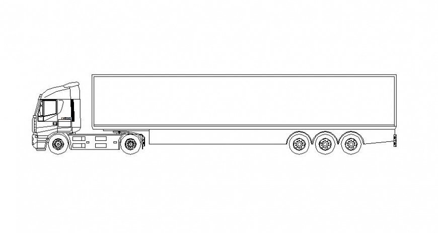 Truck vehicle blocks details elevation 2d view in autocad softwrae