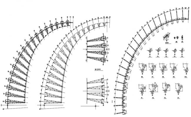 truss work At Stadium Roof AutoCAD File Free Download