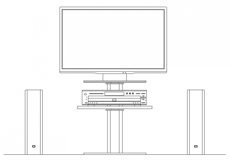 TV and drawing room furniture cad drawing details dwg file