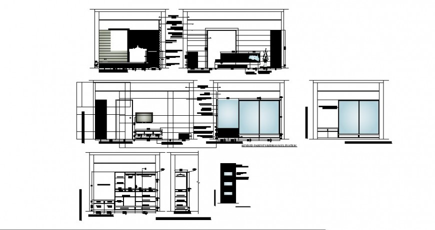 Tv cabinet, drawing room furniture and interior cad drawing details dwg file