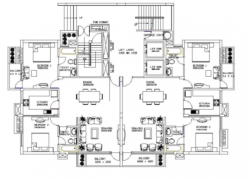 Twin apartment layout plan drawing in dwg AutoCAD file.
