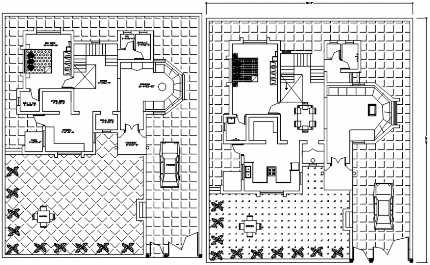 Twin bungalow distribution plan cad drawing details dwg file