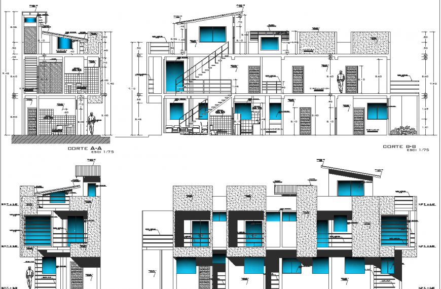 Twin bungalow elevation detail drawing in dwg AutoCAD file.