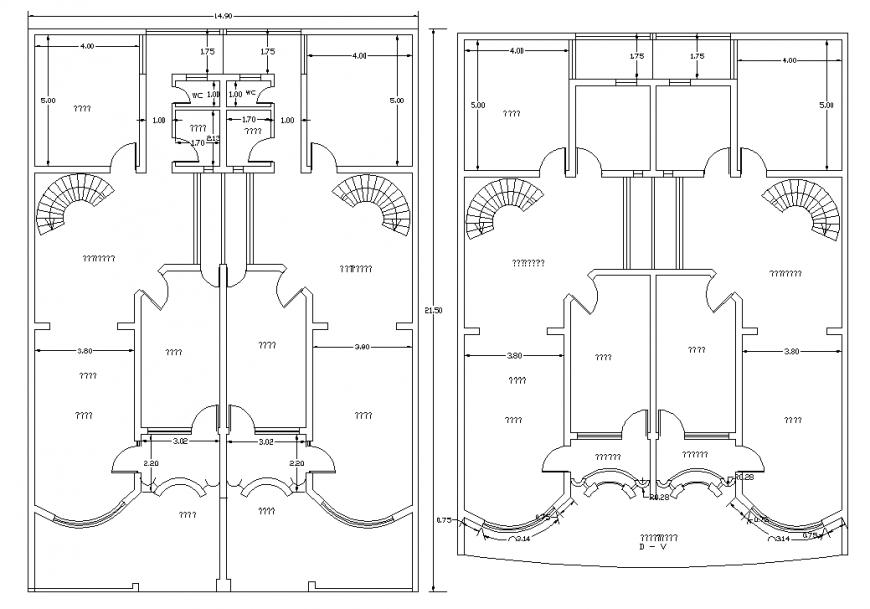 Twin Bungalow plan drawing in dwg file.