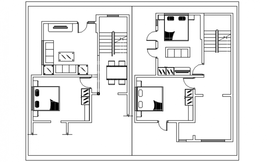 Twin house distribution plan cad drawing details dwg file
