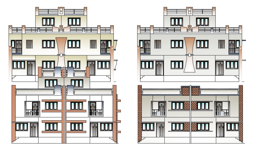 Twin house elevation drawing in dwg file.