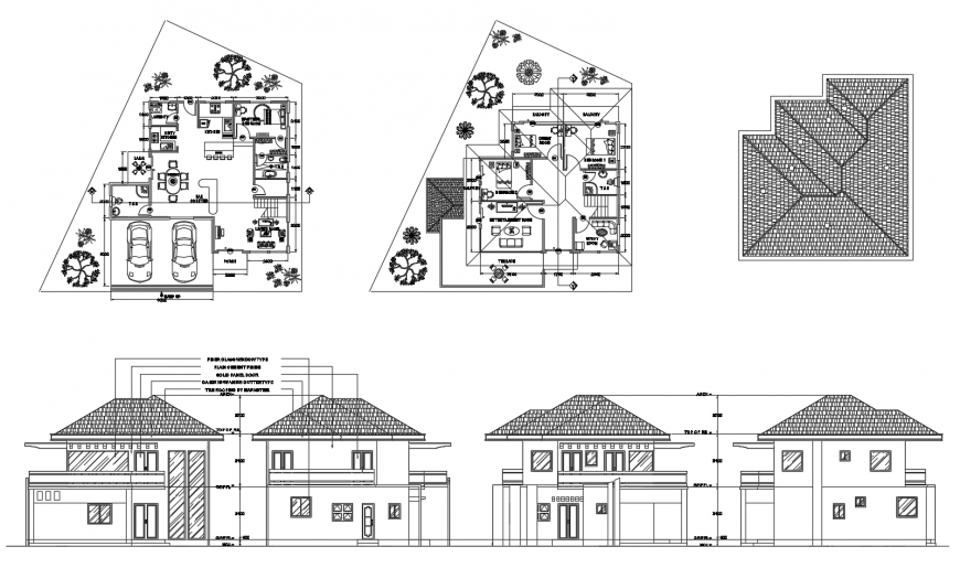 Twin house main elevations and floor plan cad drawing details dwg file