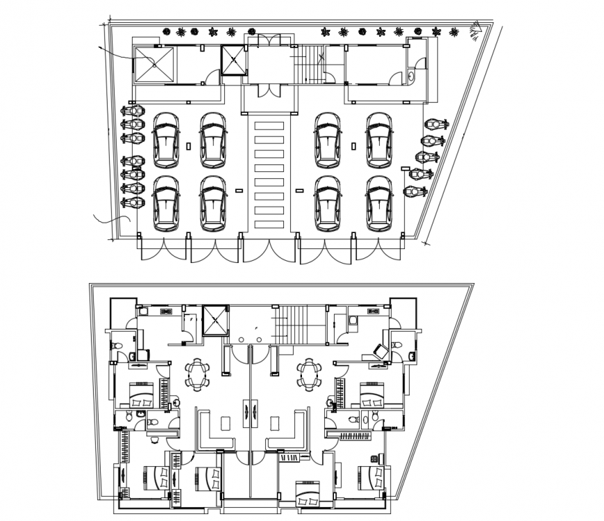 Twin house parking and first floor plan cad drawing details dwg file