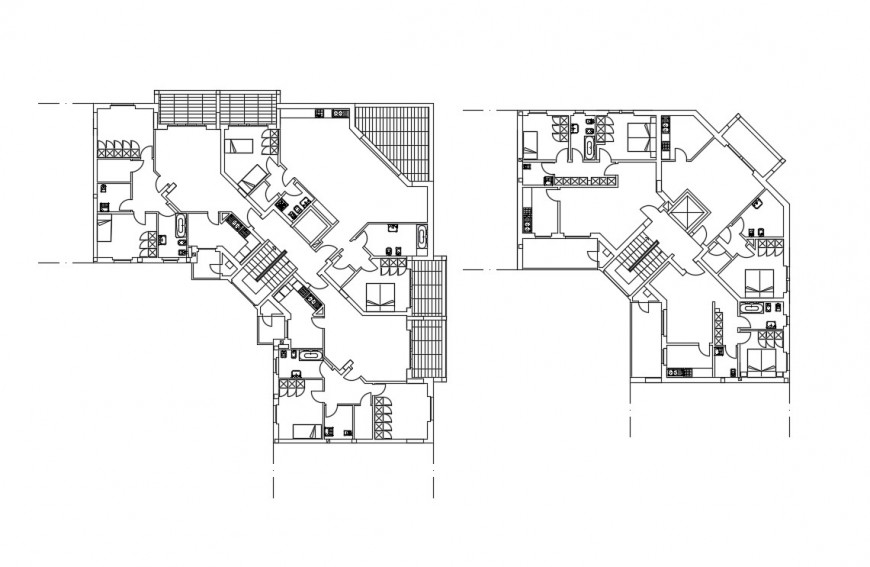 Twin house plan and sanitary installation cad drawing details dwg file