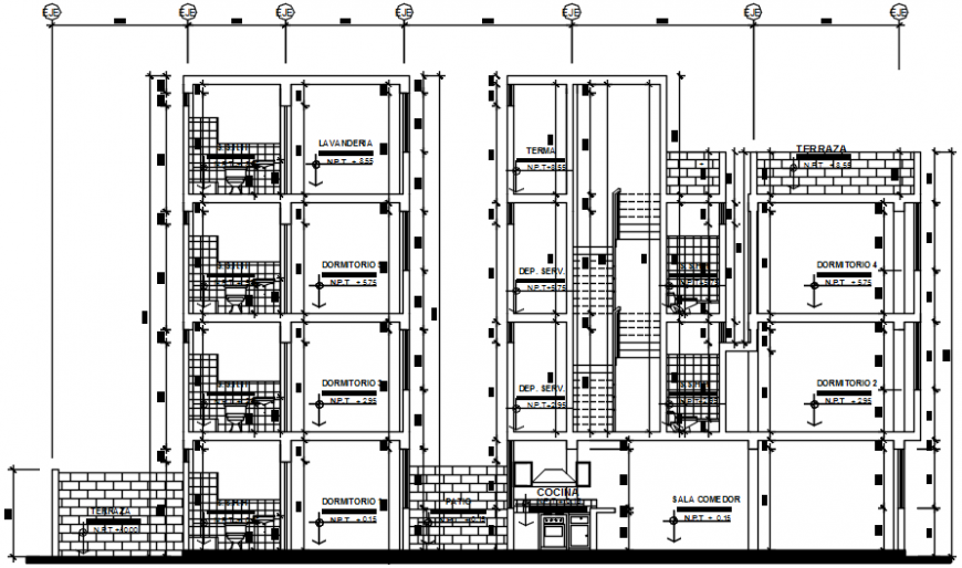 Twin residential building main section cad drawing details dwg file