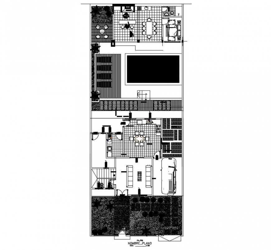 Twin residential house architecture layout plan cad drawing details dwg file