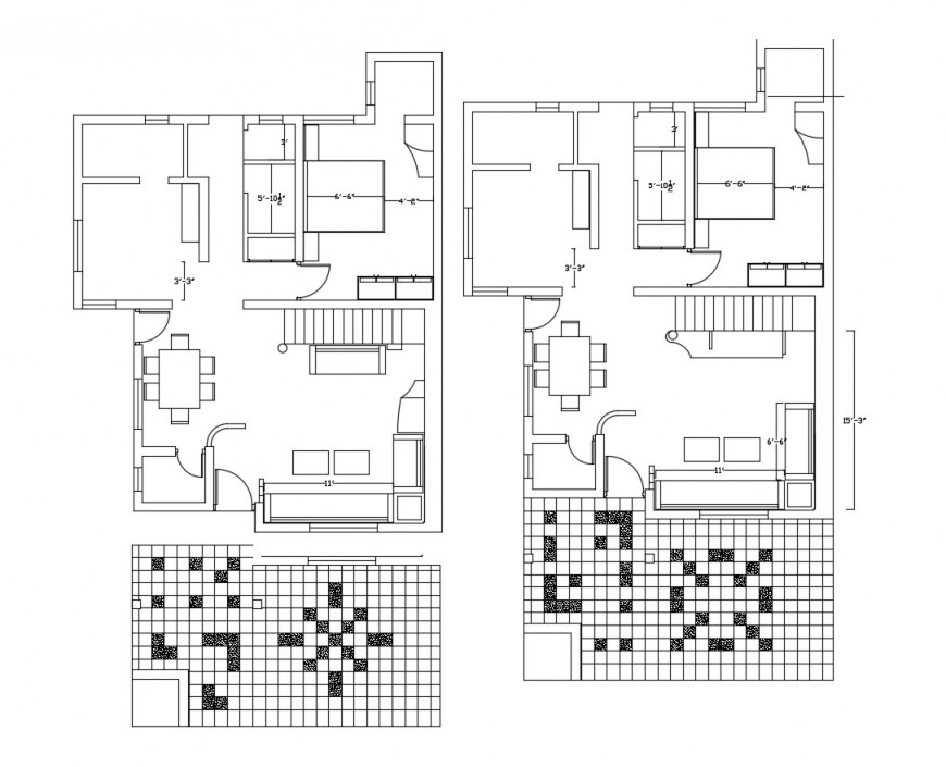 Twin residential house distribution plan cad drawing details dwg file