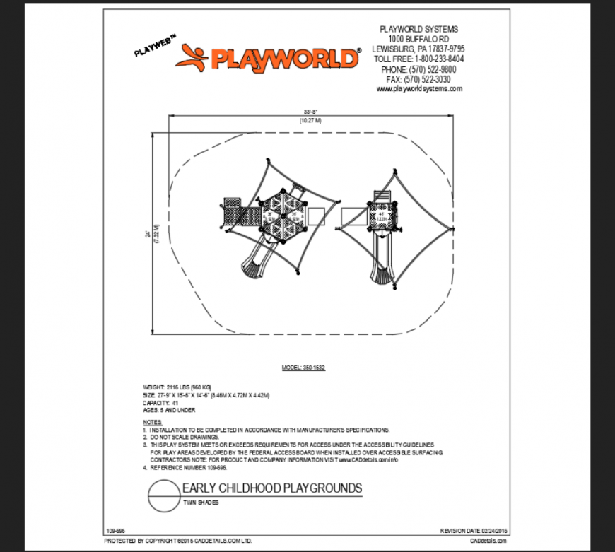 Twin shades play area play equipment details of early school park details dwg file