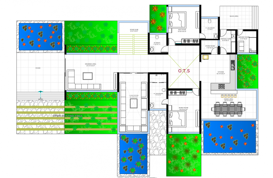 Two-bedroom one family house distribution layout plan cad drawing details dwg file