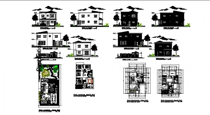 Two-flooring house elevations, sections and floor plan cad drawing details dwg file