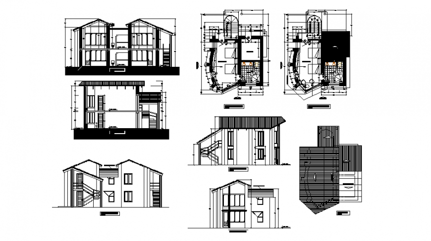 Two-flooring house facade and back elevation, section and floor plan details dwg file