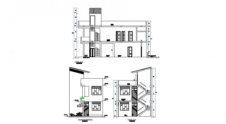 Two-flooring house main elevation and main and side section cad drawing details dwg file