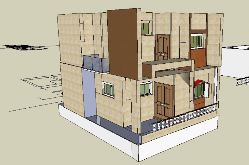 Two-flooring one family house 3d model cad drawing details skp file