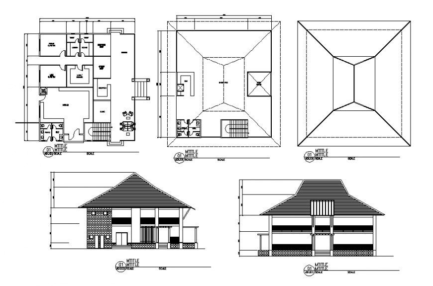 Two-level clubhouse elevation and floor plan cad drawing details dwg file