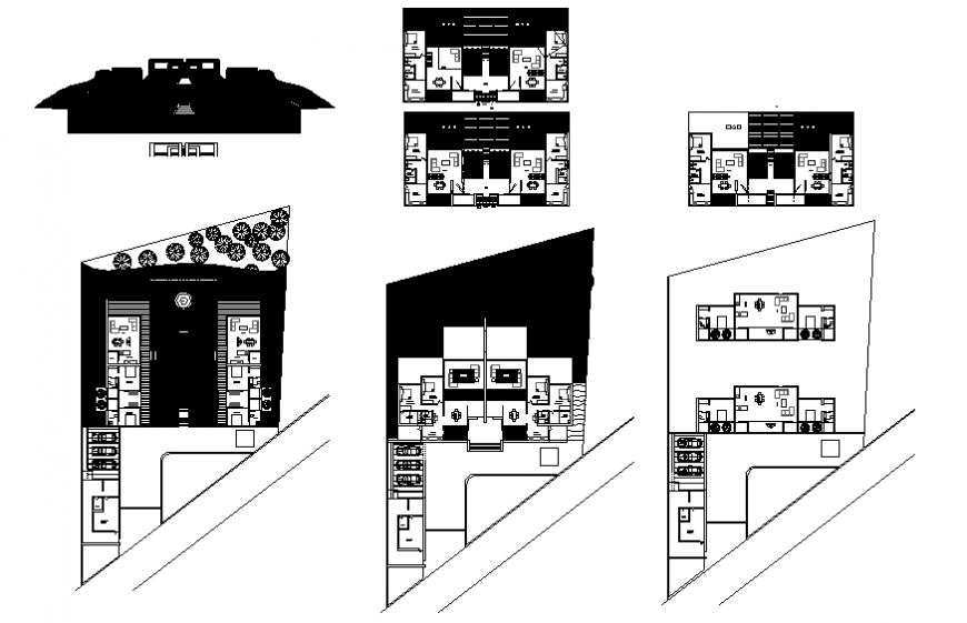 Two-level farm house elevation, floor plan and auto-cad details dwg file