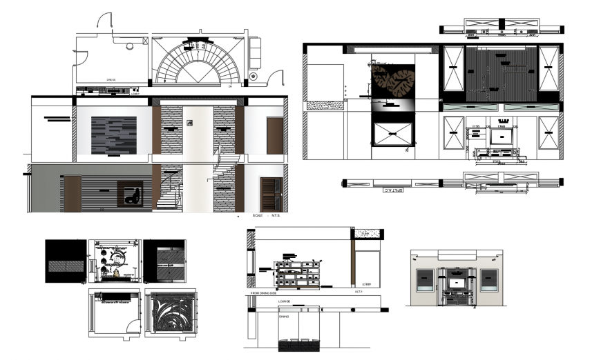 Two-level house all sided section and auto-cad drawing details dwg file