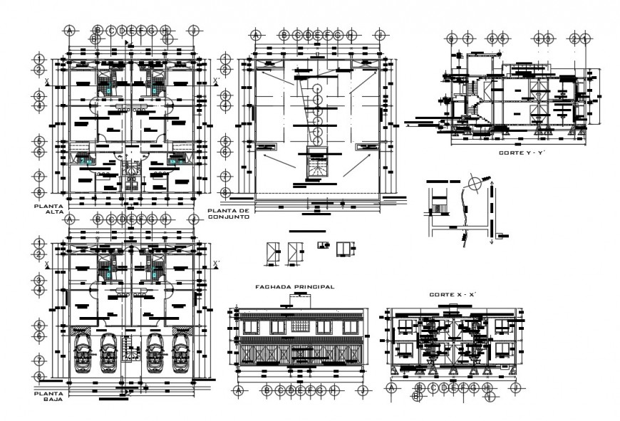 Two-level house elevation, section, floor plan and auto-cad details dwg file