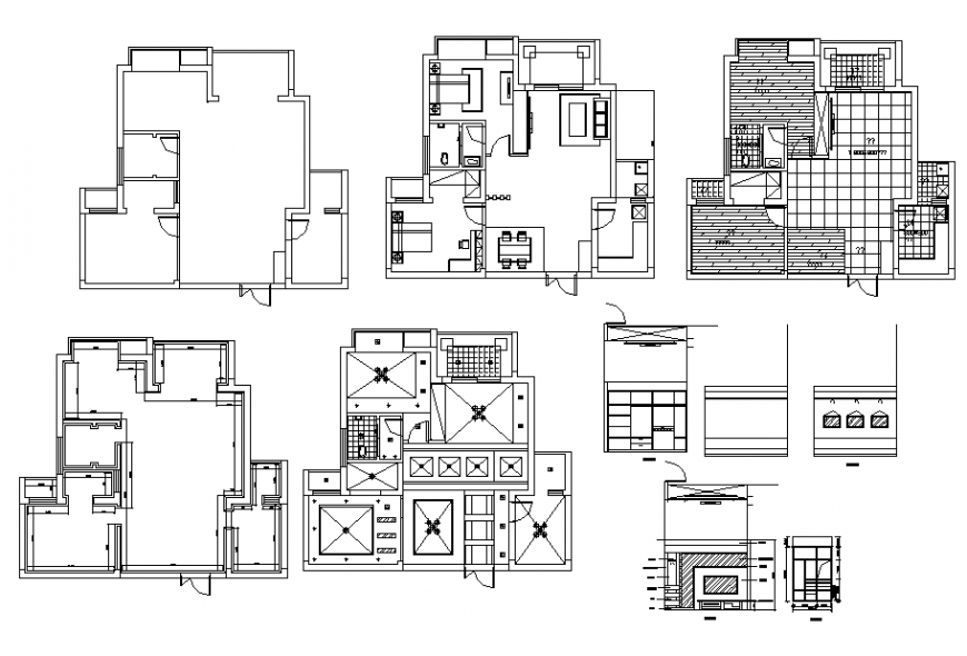 Two-level house floor plan, foundation and auto-cad details dwg file