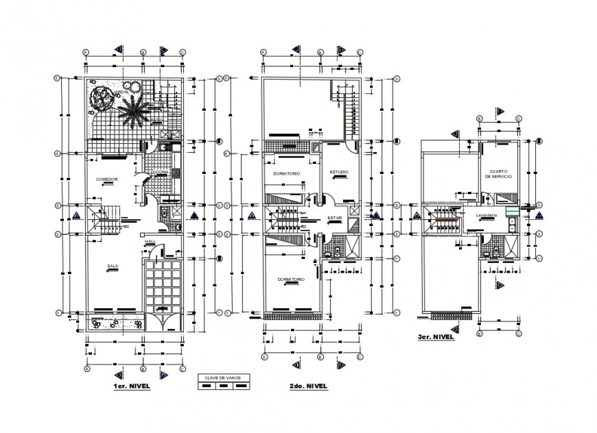 Two-level house ground, first and terrace floor plan details dwg file