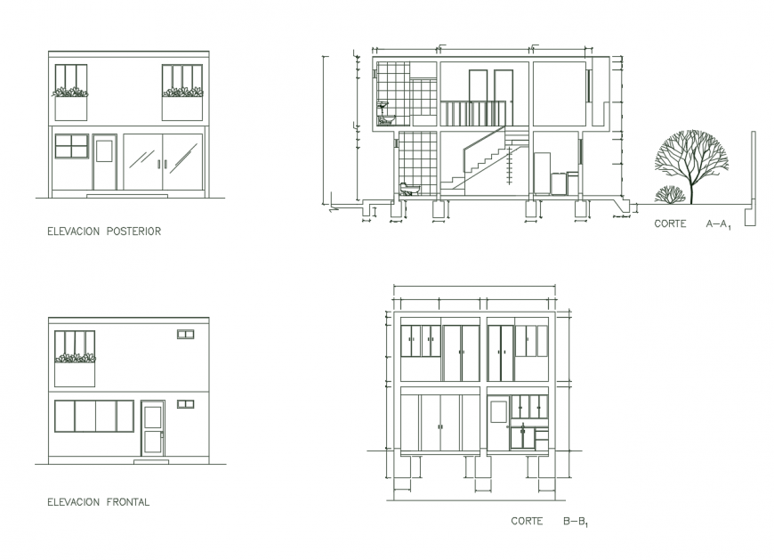 Two-level house main and back elevation and section drawing details dwg file
